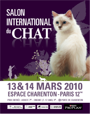Poster of the feline show of Salon de Charenton 2010 the 13 end 14 march. This poster is accompagnied of a wanderfull photo of cat.